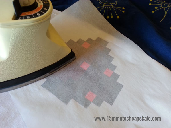 upcycle, minecraft, iron on, sewing, appliqué, Tshirt