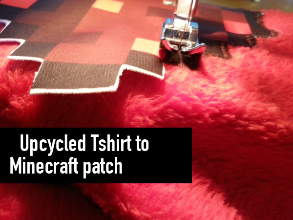 upcycled tshirt to minecraft patch title