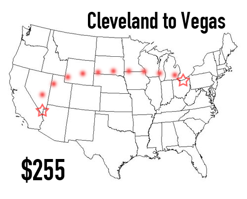 Cost of flying from Cleveland to Las Vegas